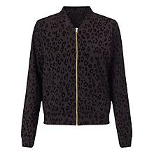 Buy Miss Selfridge Petite Animal Bomber Jacket, Black Online at johnlewis.com