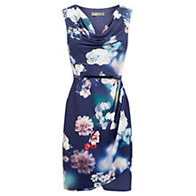 Buy Oasis Floral Print Cowl Dress, Blue/Multi Online at johnlewis.com