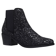 Buy Miss KG Spider Suede Ankle Boots, Black Glitter Online at johnlewis.com