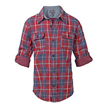 Buy Fat Face Boys' Long Sleeve Farnham Check Shirt, Red Online at johnlewis.com