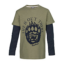 Buy Fat Face Boys' Paw Print 2-in-1 T-Shirt, Khaki Online at johnlewis.com
