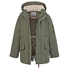 Buy Fat Face Boys' Petersfield Shower Resistant Parka, Khaki Online at johnlewis.com