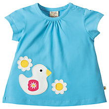 Buy Frugi Organic Baby Amber Applique Duck T-Shirt, Blue Online at johnlewis.com