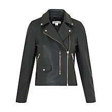 Buy Whistles Agnes Leather Biker Jacket, Dark Grey Online at johnlewis.com