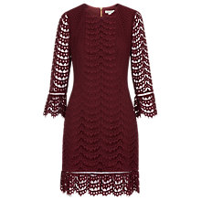 Buy Whistles Valentina Lace Dress, Burgundy Online at johnlewis.com
