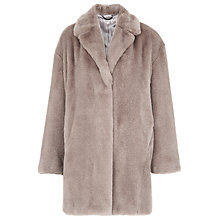 Buy Whistles Faux Fur Cocoon Coat, Neutral Online at johnlewis.com