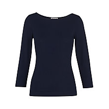 Buy Whistles Cotton Blend Top, Navy Online at johnlewis.com