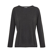 Buy Whistles Rib Hem Long Sleeve T-Shirt, Dark Grey Online at johnlewis.com