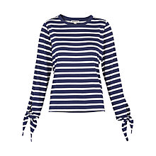 Buy Whistles Stripe Tie Cuff T-shirt, Blue/White Online at johnlewis.com
