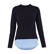 Buy Whistles Striped Shirt Back Sweater, Navy Online at johnlewis.com