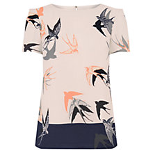 Buy Oasis Bird Print Formal T-Shirt, Multi Online at johnlewis.com