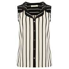 Buy Oasis Stripe Frill Shirt, Black Online at johnlewis.com