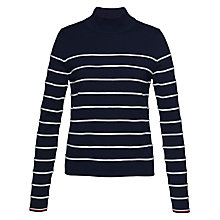 Buy Tommy Hilfiger Ivy Mock Neck Stripe Jumper, Navy Blazer/Snow White Online at johnlewis.com