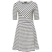 Buy Tommy Hilfiger Oliver Asymmetric Stripe Dress, Snow White/Navy Blazer Online at johnlewis.com