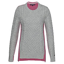 Buy Tommy Hilfiger Bedelia Cable Colour Block Jumper, Light Grey Heather/Coral Blush Online at johnlewis.com