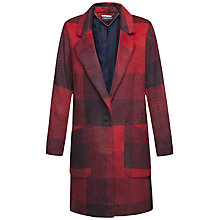Buy Tommy Hilfiger Izzy Checkered Wool Coat, Mars Red Multi Check Online at johnlewis.com