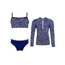 Buy John Lewis Girls' Nautical Spot SunPro Swimwear Set, Royal Blue Online at johnlewis.com