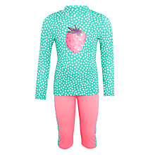 Buy John Lewis Girls' Pretty Strawberry Sunpro Swimsuit, Aqua/Pink Online at johnlewis.com
