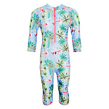 Buy John Lewis Girls' Pretty Flamingo SunPro Swimsuit, Green/Multi Online at johnlewis.com