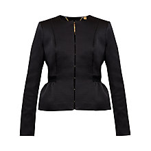Buy Ted Baker Tyoko Textured Peplum Jacket, Black Online at johnlewis.com