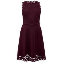 Buy Ted Baker Verony Embroidered Skater Dress, Oxblood Online at johnlewis.com
