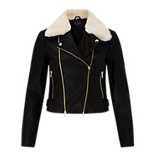 Buy Miss Selfridge Faux Fur Collar Biker Jacket, Black Online at johnlewis.com