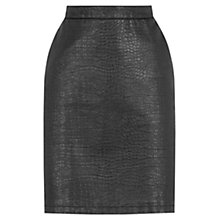 Buy Warehouse Croc Pelment Skirt, Black Online at johnlewis.com