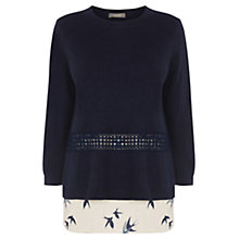 Buy Oasis Sashiko Bird Top, Multi Blue Online at johnlewis.com