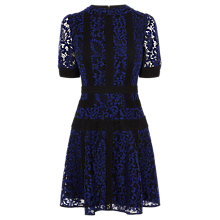 Buy Karen Millen Colour Block Lace Dress, Blue Online at johnlewis.com