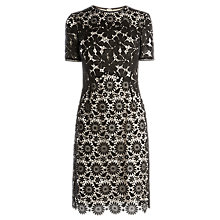 Buy Karen Millen Blocked Lace Pencil Dress, Black Online at johnlewis.com