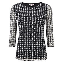 Buy Phase Eight Dog Tooth Lace Top, Black/Ivory Online at johnlewis.com