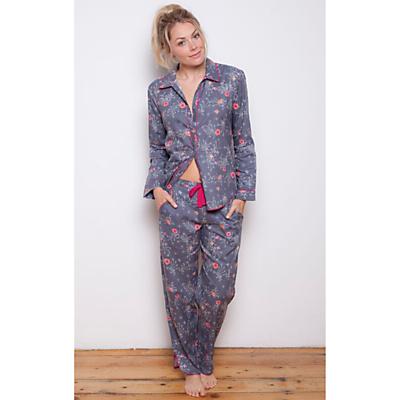 Cyberjammies Louisa Pansy Print Pyjama Set, Grey/Multi