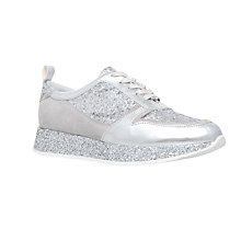 Buy KG by Kurt Geiger Lanza Lace Up Trainers, Silver Online at johnlewis.com