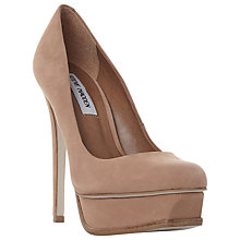 Buy Steve Madden Kiss Platform Stiletto Heel Court Shoes, Tan Nubuck Online at johnlewis.com