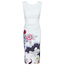 Buy Jolie Moi Oriental Floral Print Shift Dress, Beige Online at johnlewis.com