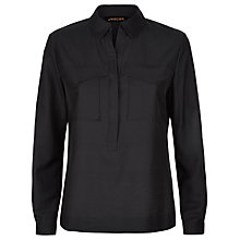 Buy Jaeger Cotton Silk Pocket Shirt, Black Online at johnlewis.com