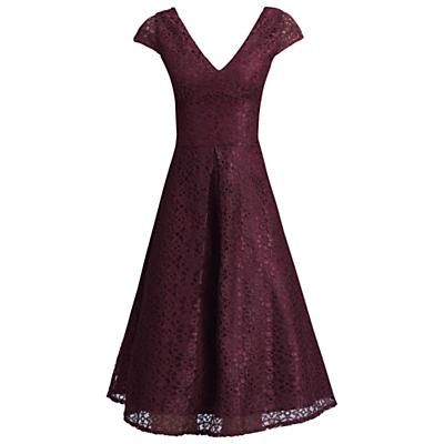Jolie Moi 50s Cap Sleeve Lace Dress, Dark Red