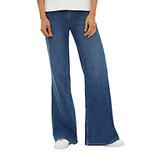 Buy Jaeger High-Rise Wide-Leg Jeans, Mid Blue Online at johnlewis.com