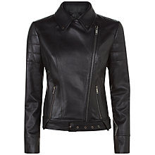 Buy Jaeger Contrast Leather Biker Jacket, Black Online at johnlewis.com