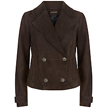 Buy Jaeger Suede Jacket, Dark Brown Online at johnlewis.com