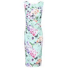 Buy Jolie Moi Floral Print Ruched Shift Dress, Green Online at johnlewis.com