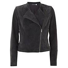 Buy Mint Velvet Suede Collarless Biker Jacket, Grey Online at johnlewis.com