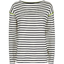 Buy Jaeger Tipped Winter Breton Top, Navy/Ivory Online at johnlewis.com
