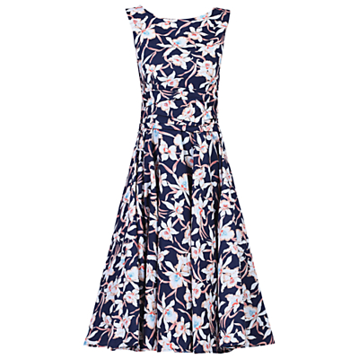 Jolie Moi 50s Wrap Belt Full Skirted Dress, Navy/Floral