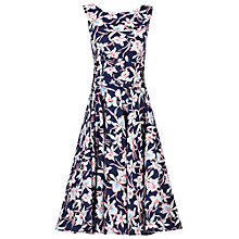 Buy Jolie Moi 50s Wrap Belt  Full Skirted Dress, Navy/Floral Online at johnlewis.com