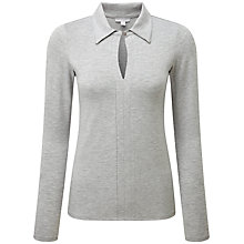 Buy Pure Collection Keaton Collared Jersey Top, Light Grey Marl Online at johnlewis.com