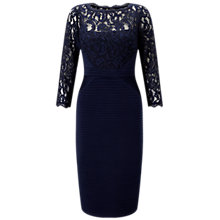 Buy Adrianna Papell Pintuck Jersey And Lace Dress, Midnight Online at johnlewis.com