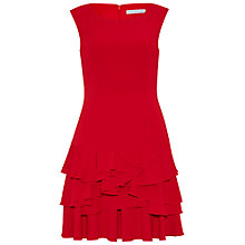 Buy Gina Bacconi Moss Crepe Dress With Tiered Skirt, Red Online at johnlewis.com