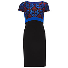 Buy Gina Bacconi Crepe And Corded Embroidery Lace Dress, Royal Blue Online at johnlewis.com