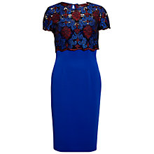 Buy Gina Bacconi Dress With Corded Embroidery Lace Overtop, Royal Blue Online at johnlewis.com